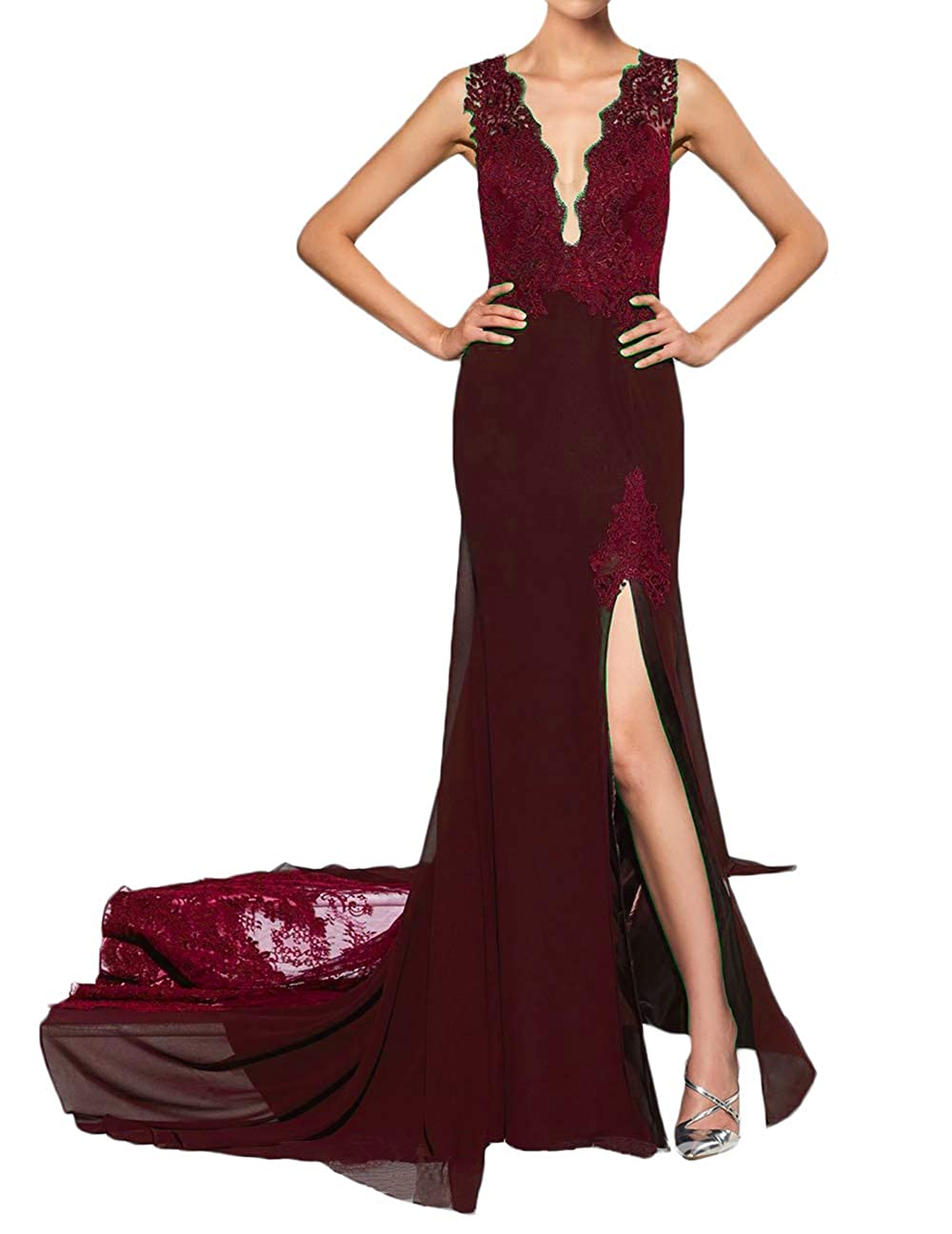 Dark Burgundy alilith.Z Sexy Plunging V Neck Prom Dresses 2019 Mermaid Appliques Lace Long Formal Evening Dresses for Women with Slit