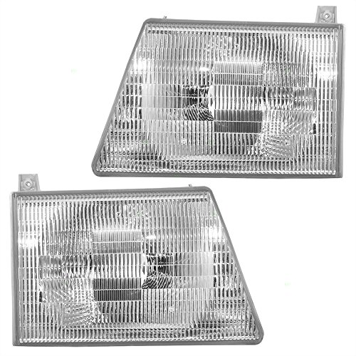 Driver and Passenger Composite Headlights Headlamps Replacement for Ford Van 6C2Z 13008 BA 6C2Z 13008 AA AutoAndArt