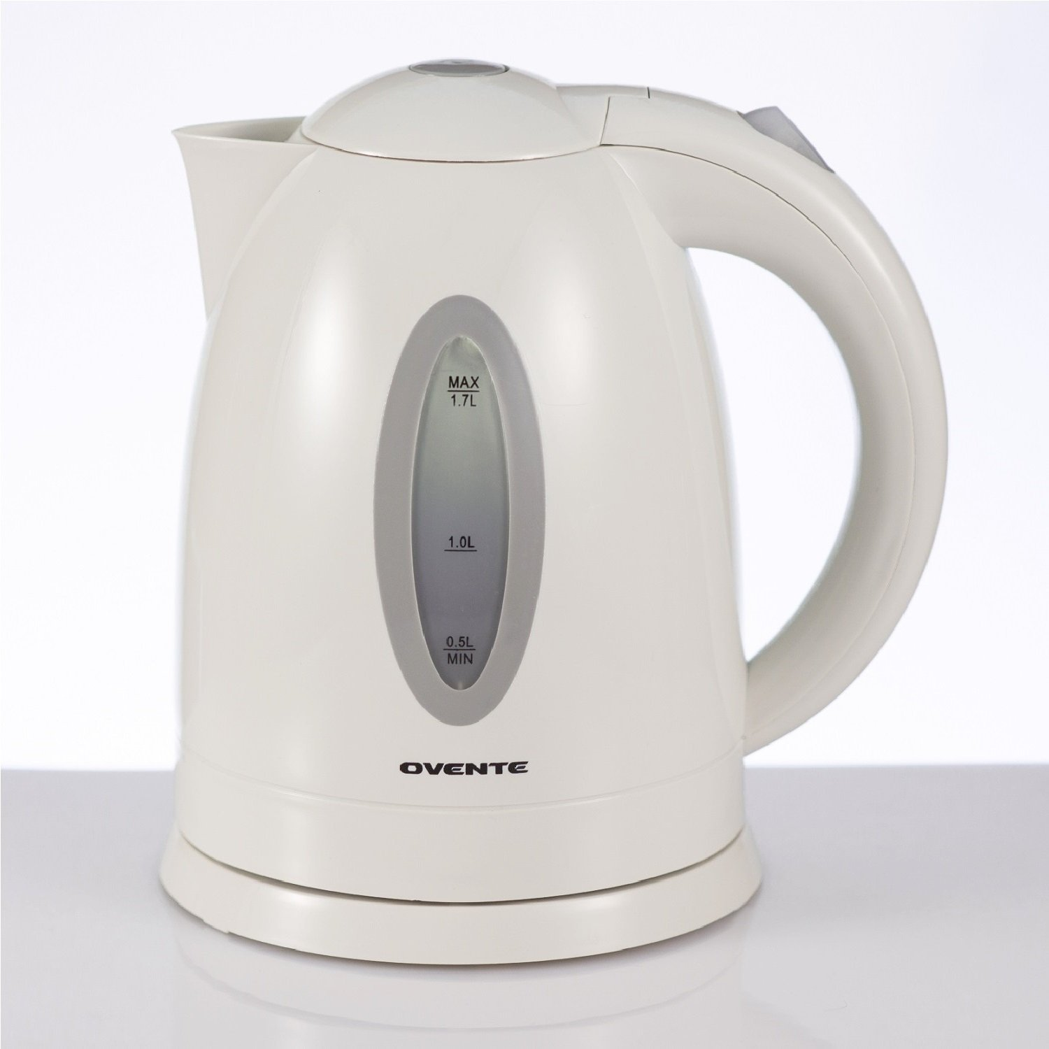 Ovente 1.7L BPA-Free Electric Kettle, Fast Heating Cordless Water Boiler with Auto Shut-Off and Boil-Dry Protection, LED Light Indicator, White (KP72W) by Ovente (Image #1)