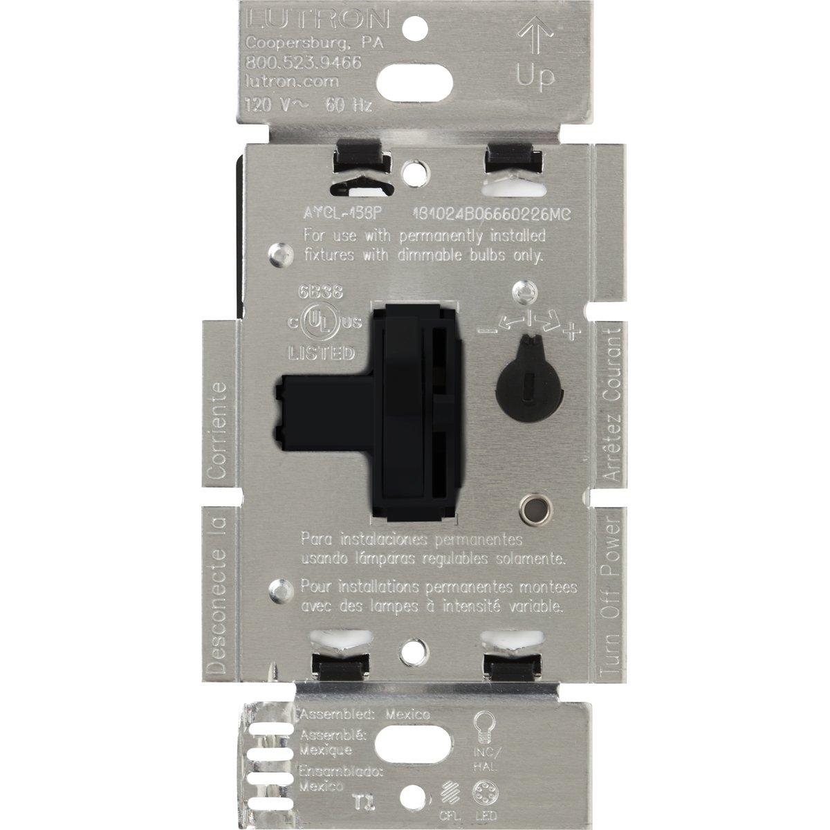 Lutron Ariadni 250-wattシングルポール/ 3ウェイCFL / LEDディマー AYCL-253P-BL 1 B00LC9UR10 ブラック ブラック