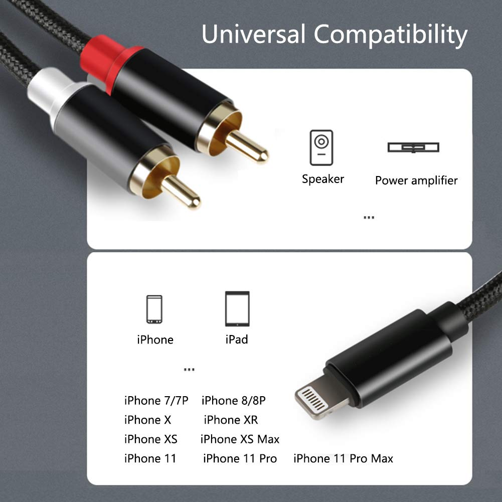 2-Male RCA Adapter Audio Stereo Y Cable,Compatible with iPhone/iPod/iPad 8p Lightning Port, for Power Amplifier, Speaker and More(4ft): Industrial & Scientific
