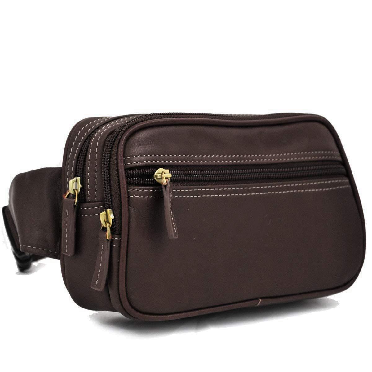 Genda 2Archer Petite Pochette argent ceinture sac en cuir voyage s/écurit/é accessoire transporter Marron