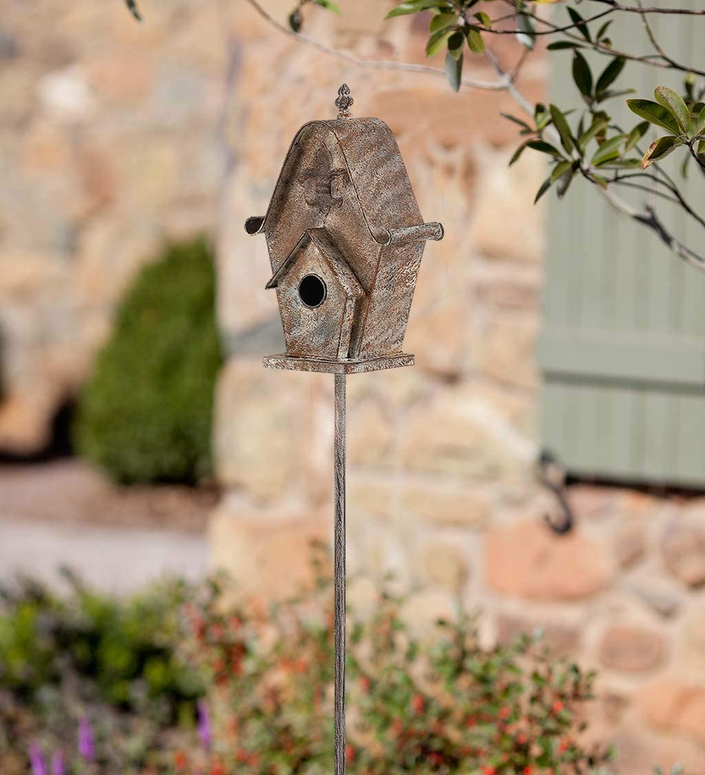 Brogan 57 Inch Tall Metal Bird House for Outside Stakes Decorations, Birdhouses for Outdoors Garden Lawn Patio Yard Art, Castle Roof Style, Fleur-de-lis Accents, Rusty-Colored