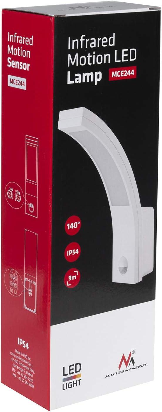Maclean MCE244 Lampe /à LED avec d/étecteur de mouvement infrarouge /à 140/° Degr/é 9m IP54 Zone ext/érieure /étanche MCE244 sans alimentation de secours