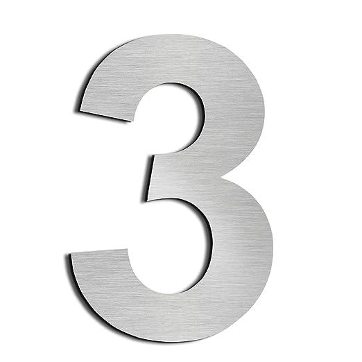 Nanly Número de casa moderna-10.2Centímetros/4 pulgadas-Acero inoxidable, Apariencia flotante, Fácil de instalar y hecho de acero inoxidable sólido ...