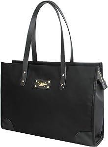 Kamlui Laptop Bag 15.6 inch for Women Computer Case Waterproof Shoulder Messenger Leather Tote Business Office Briefcase Large Capacity Bag, Black