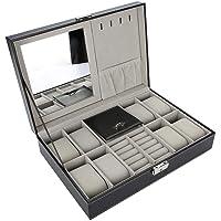 Uhrenhuette - Porta orologi in pelle PU, 8 Grids, idea regalo