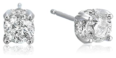 4ec16f374 Amazon.com: 1 Carat Certified Diamond Stud Earrings, 14K White Gold, (K-L  Color I1-I2 Clarity): Jewelry