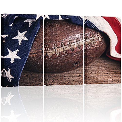 Visual Art Decor Close Up of Rustic American Football with USA Flag Decal Framed Inspirational Sports Canvas Prints Picture Poster Club Wall Decoration (Large)