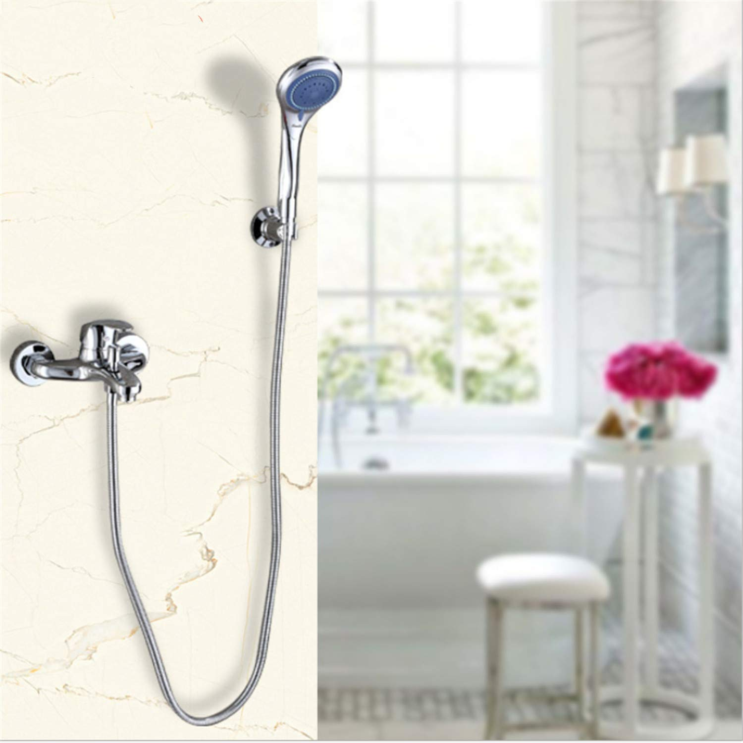 UNIQUE-F Shower Exposed Chrome-Plated Copper Selection Set Nozzle Hand-held Hood Simple Device Convenient