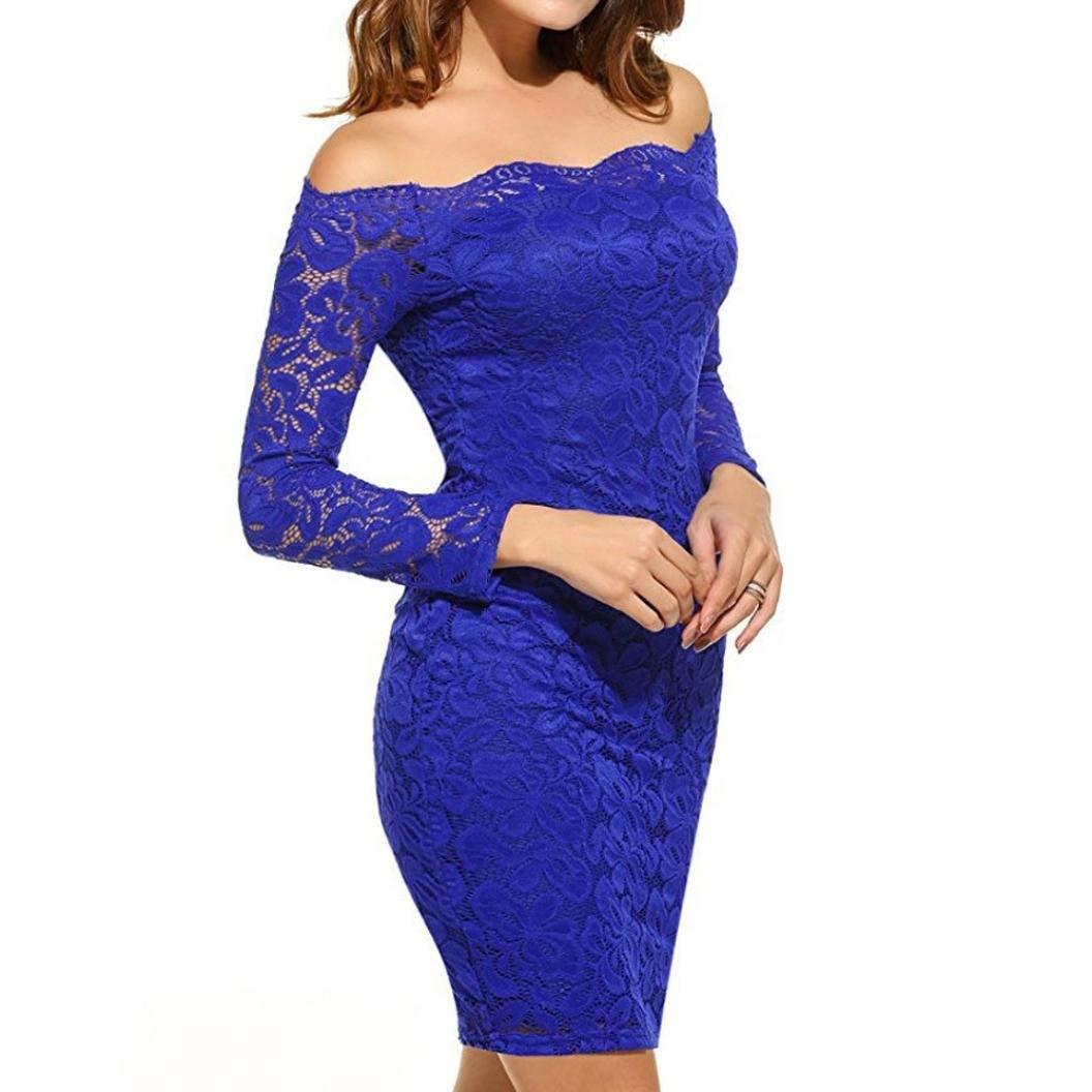 Bleu MJY La mode des femmes élégante robe en dentelle, hors épaule hommeches longues Vintage Cocktail Party jupes serrées,Marine,L_UK 12-14  L_UK 18-20