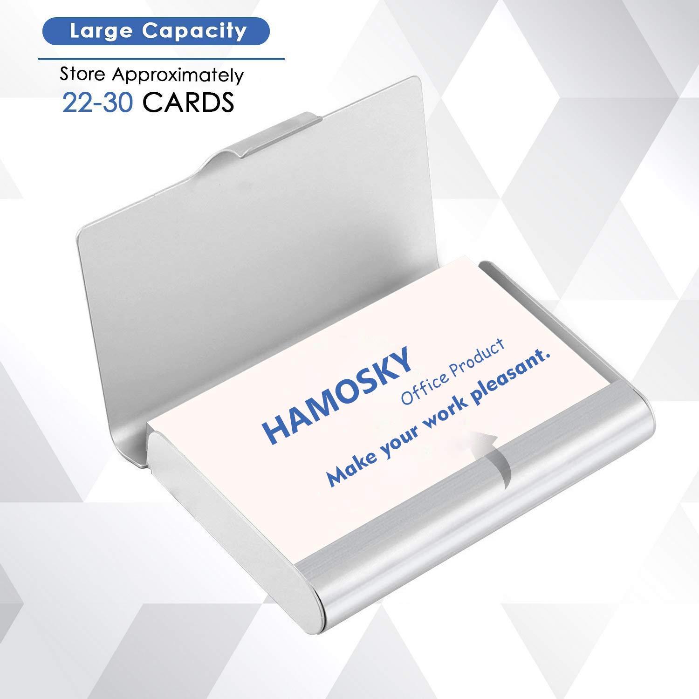 22-30 Tarjetas Hamosky Tarjetero Profesional De Metal Para Tarjetas De Visita Aluminio Para Hombres Y Mujeres De Bolsillo Color Negro 3.7 X 2.45 X 0.6 Gran Capacidad Color Plateado