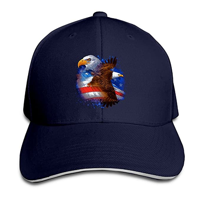 ba759766b1f Image Unavailable. Image not available for. Color  Adult Fashion American  Eagle USA Flag Baseball Hats 100% Cotton Adjustable Snapback ...