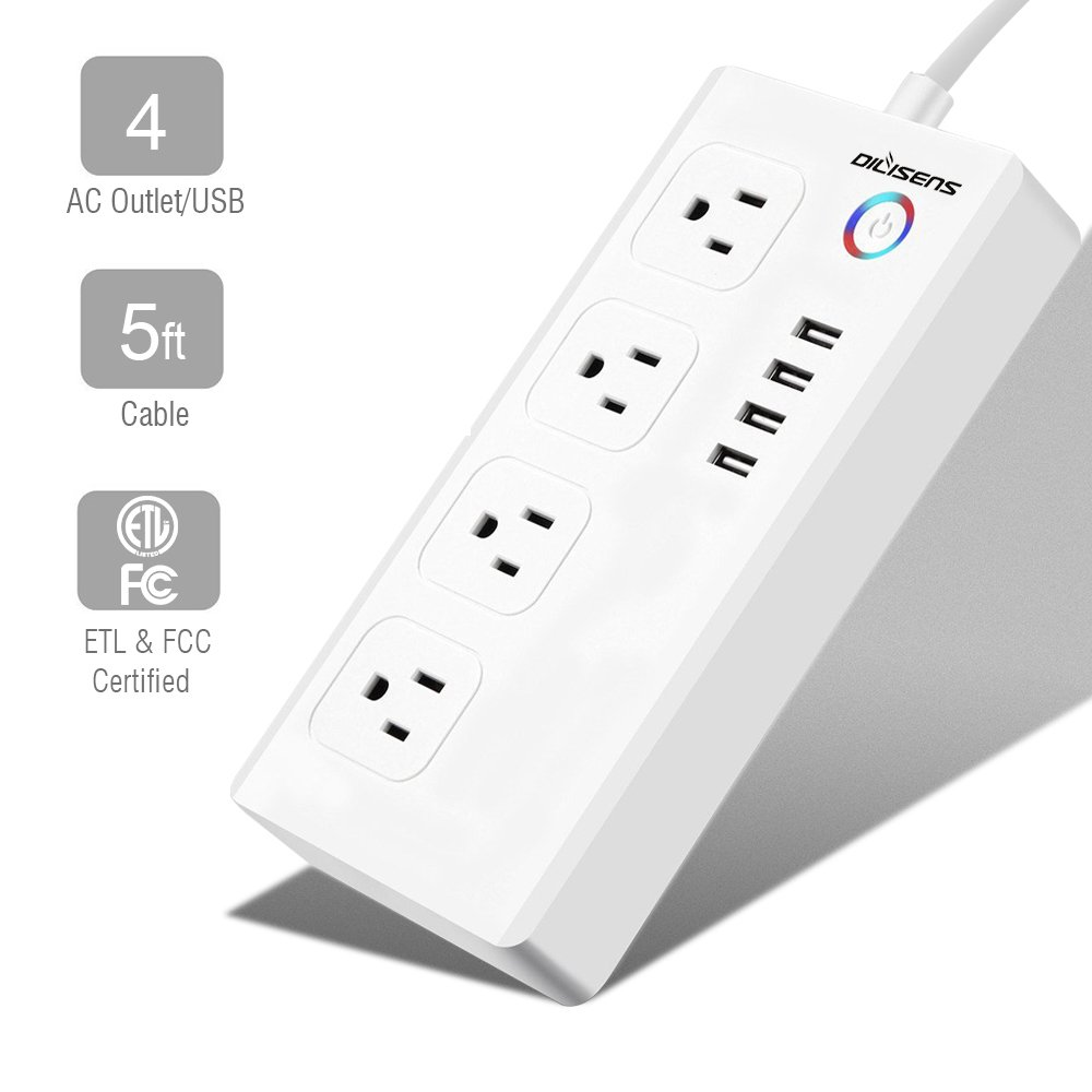 Power Strip, DILISENS Smart Outlet Plug Timing Switch with 4 AC Sockets & 4 USB Charging Ports, Wi-Fi, APP Control Your Home Appliances from Anywhere, Work with Alexa / Google Home - ETL Listed