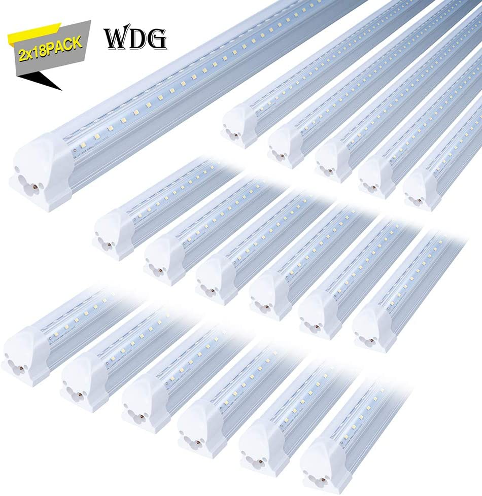 18 Pack T8 Led 8FT 60W Integrated V Shaped Tube Light,Linkable Under Cabinet Lamp Double Sided Indoor Shop Bulb,On//Off Switch Cable Clear Cover White Daylight 6500k 5 Years Warranty Garage Lights