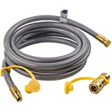 """SHINESTAR 12Feet Natural Gas and Propane Gas Hose Assembly for Low Pressure Appliance -3/8"""" Female Pipe Thread x 3/8"""" Male Flare Quick Connect/Disconnect"""