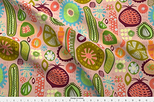 Spoonflower Vegetables Fabric Pickles In My Pantry by Slumbermonkey Printed on Organic Cotton Knit Ultra Fabric by the (Pantry Pickles)