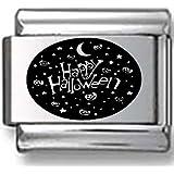 Happy Halloween Collage Black Laser Italian Charm