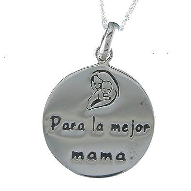 c1942d4f282a Alylosilver Collar Colgante Medalla Madre de Plata para Mujer - para la  Mejor Mama. Incluye Cadena de Plata de 40 cm y Estuche para Regalo   Amazon.es  ...