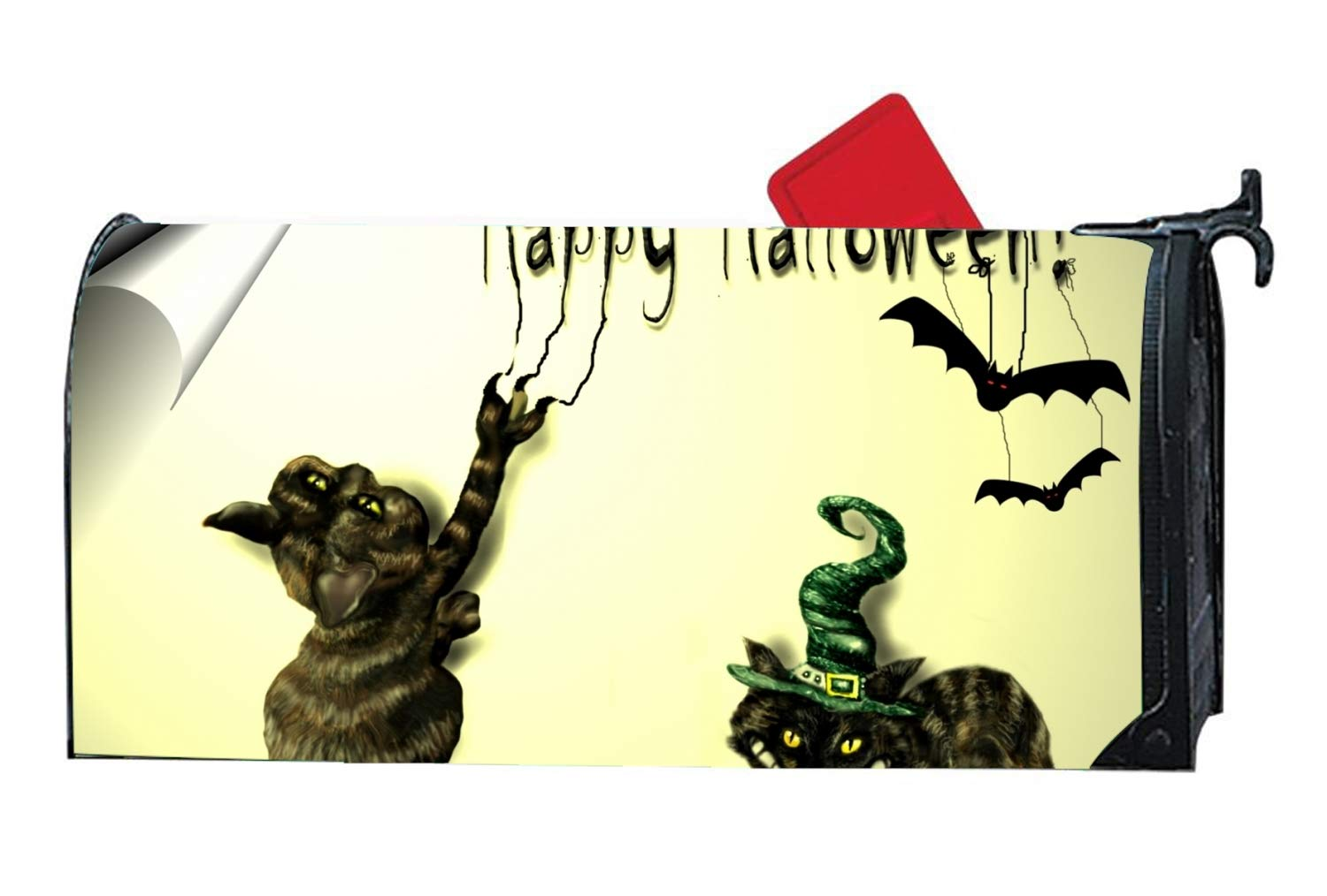 Holiday Halloween Happy Magnetic Mailbox Cover Home Garden Cute Mailbox Wraps with Full-Surface Magnet on Back
