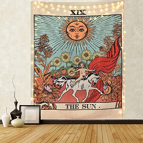 Alishomtll Tarot Tapestry Sun Tapestry Mysterious Medieval Europe Divination Tapestries for Room