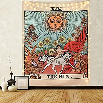 Sevenstars Tarot Tapestry Sun Tapestry Wall Hanging Mysterious Medieval Europe Divination Tapestries for Room (51.2 x 59.1 inches)