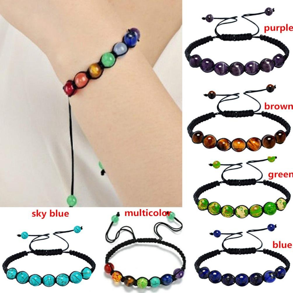 Unpara 7 Chakra Healing Balance Beads Agate Bracelet Yoga Life Energy Bracelet Lovers Casual Jewelry 13 Rainbow Natural Stone Wristlet For Different Occasions (B) GFH
