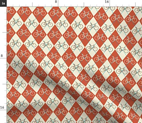 Spoonflower Bikes Fabric - Argyle Bicycle Cream Turquoise Guava Red by Christy Kay Printed on Modern Jersey Fabric by The Yard ()