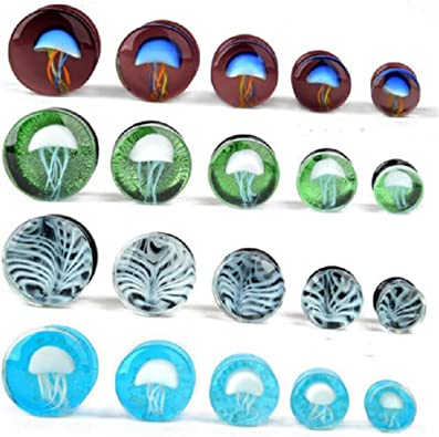 Chaplin Wong Pack of 8 Mixed Colors Glass Spiral Tapers Ear Piercing Tunnel Plugs Gauges