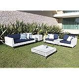 Conjunto de sofá de fibra sintética completo para jardim, piscina, varanda e terraço