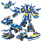 IROCH 6 in 1 Military Building Blocks Robot Bricks Toy Creative STEM Set Best Transforming Toy Gift for Kids 6 Years Up Compatible with All Major Brands (901ABCDEF)