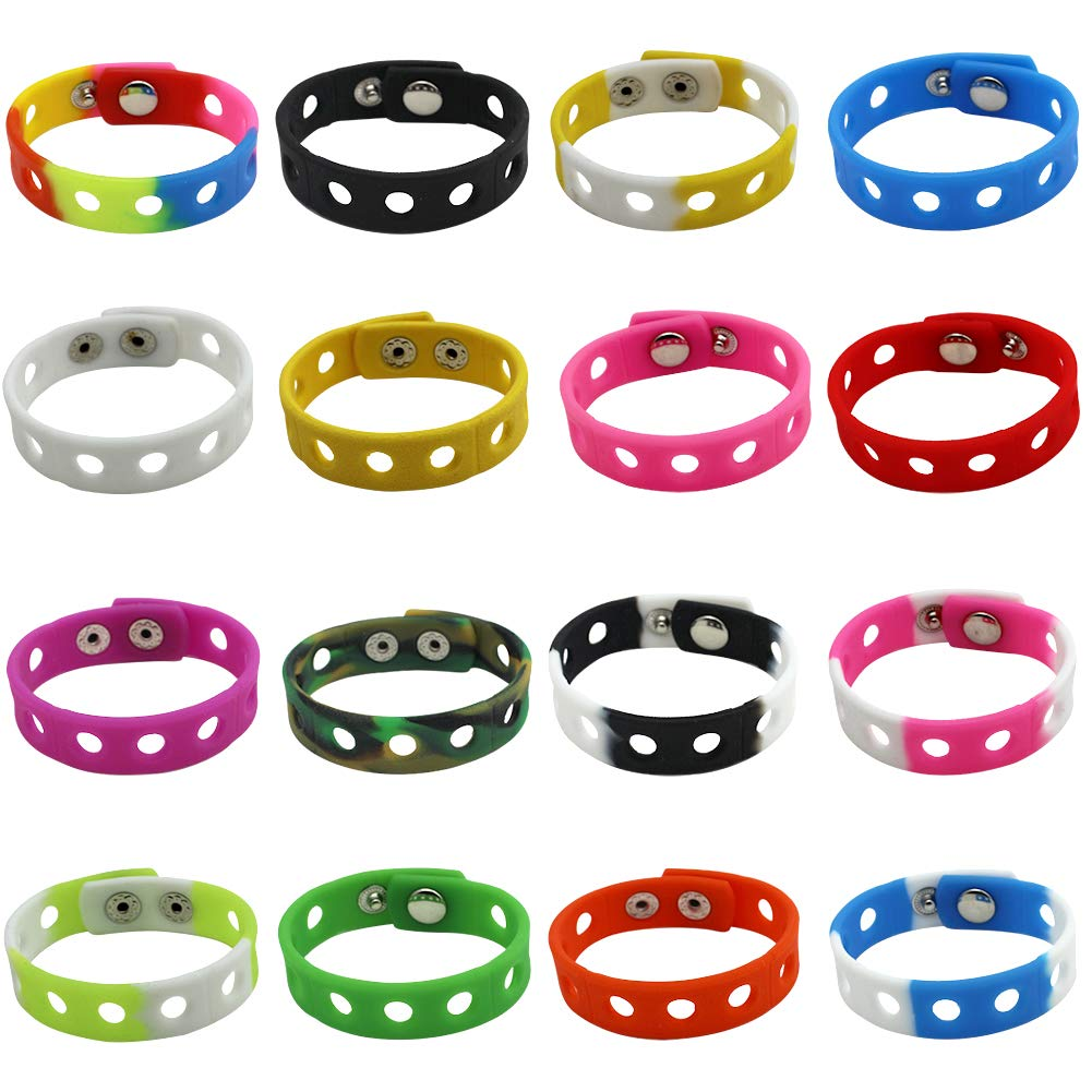 YaqinZ 16 Colors 7 Inch Kids Bracelets for Jibbitz Shoe Charms Adjustable Movement Cute Wristband Kids Birthday Gifts