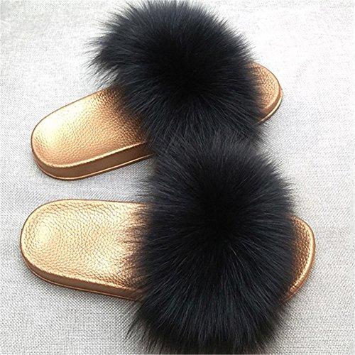 Souples Sandales Fourrure Toe Multicolore Glisser pour Femmes Pantoufles Open de Noir Faire Plume Tongues MSFS pw7ZRU