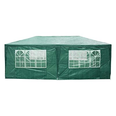Manoch 10x20' Green Outdoor Canopy Event Party Wedding Tent White Gazebo 6 Wall Cover Material: Polyethylene Frame: White Powder Coated Steel with PE Joint Fittings Durable Waterproof : Garden & Outdoor