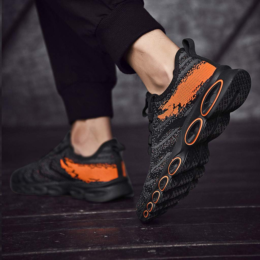 Size: US 7-US 9.5 iYBUIA Mens Mesh Outdoor Mesh Breathable Running Non-Slip Sneakers Lace-Up Shoes