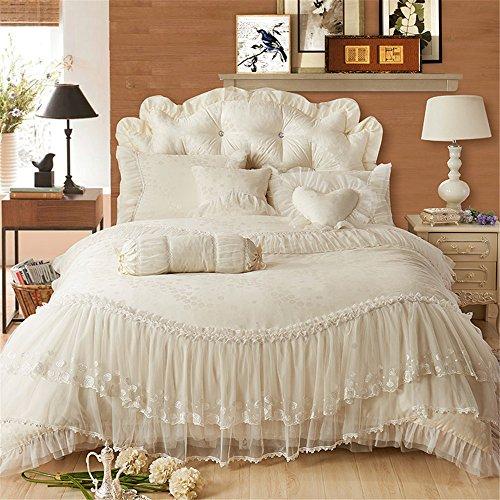 Lotus Karen Lotus Karen Romantic Korean Jacquard Bedding Set KP081 2018 Luxury Exquisite Jacquard Lace Ruffles Pink Wedding Bedding for Girls Including 1Duvet Cover,1Bedskirt,2Pillowcases price tips cheap