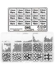 Yuhtech 580 Stks 15 Size Lager Ballen Roestvrij staal, Precisie Ballen 1mm-10mm voor Fietswiel, Skateboard Lagers