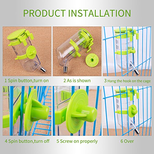 Dogs Crate Water Bottle Dispenser-Best Collapsible Water Automatic Water Drinking Feeder Stainless Steel Ball Heavy Duty Lazy Animals Kitten Guinea Pig Crate Cage Kennel (Green,350ML) by Yitour (Image #7)