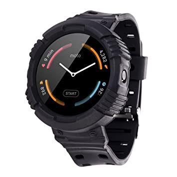 Greatfine Funda y Correa para Motorola Moto 360 1st Gen (Black)