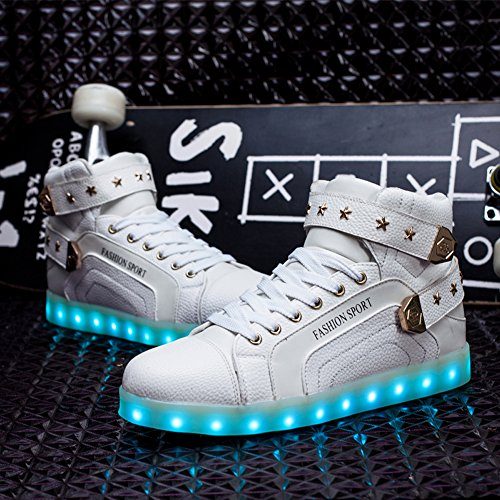 Womens Mens LED Shoes 7 Colors Neon Light up Luminous Glowing Fashion Sneakers White EQWrfZeeP