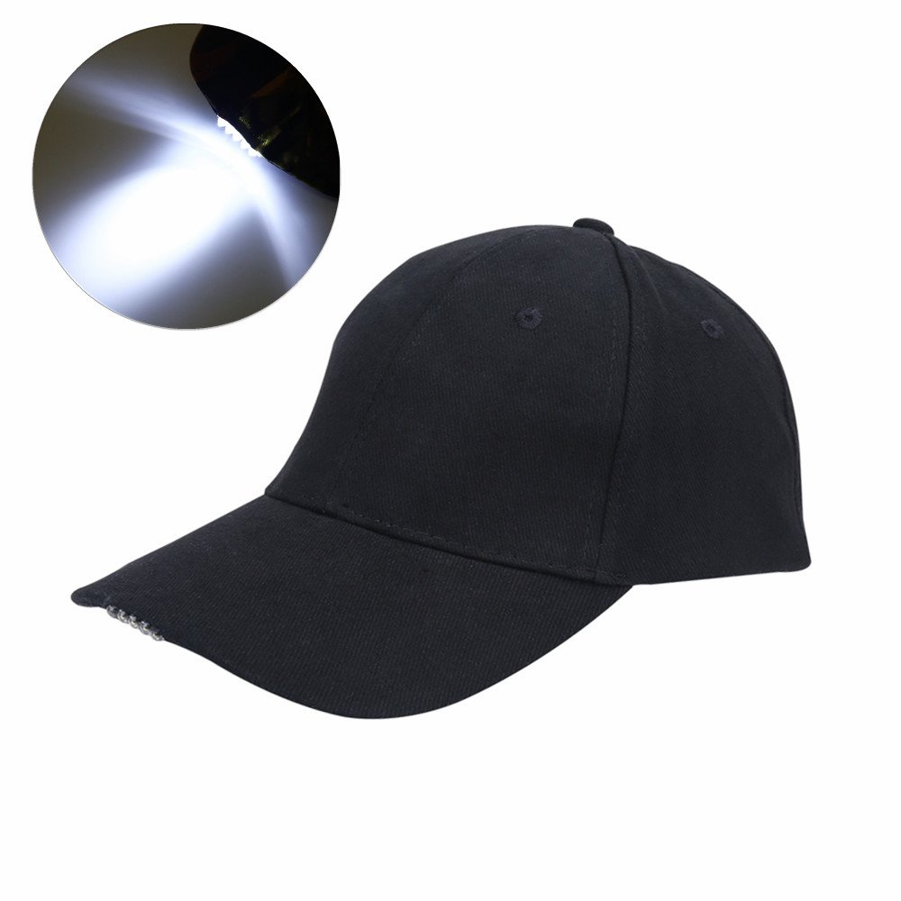 LED Hat Baseball Cap Hat - Ultra Bright Lights Baseball Cap Easily Adjustable Baseball Hat Headlight Flashlight for Hunting Fishing Camping Hiking Jogging Angling Unisex (Black)