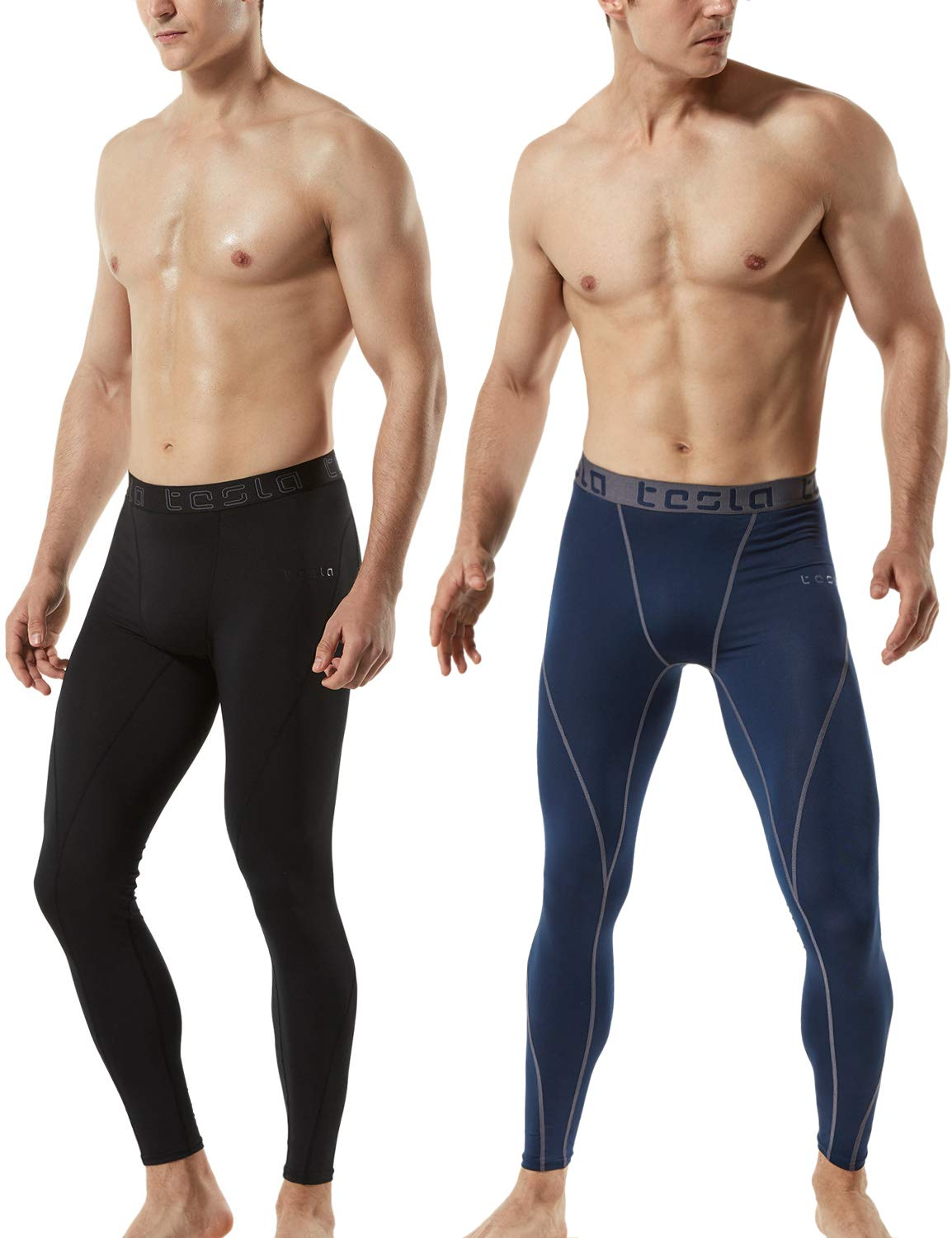 TSLA Mens Pack of 2-MUP19 Compression Pants Baselayer Cool Dry Sports Tights Leggings MUP92