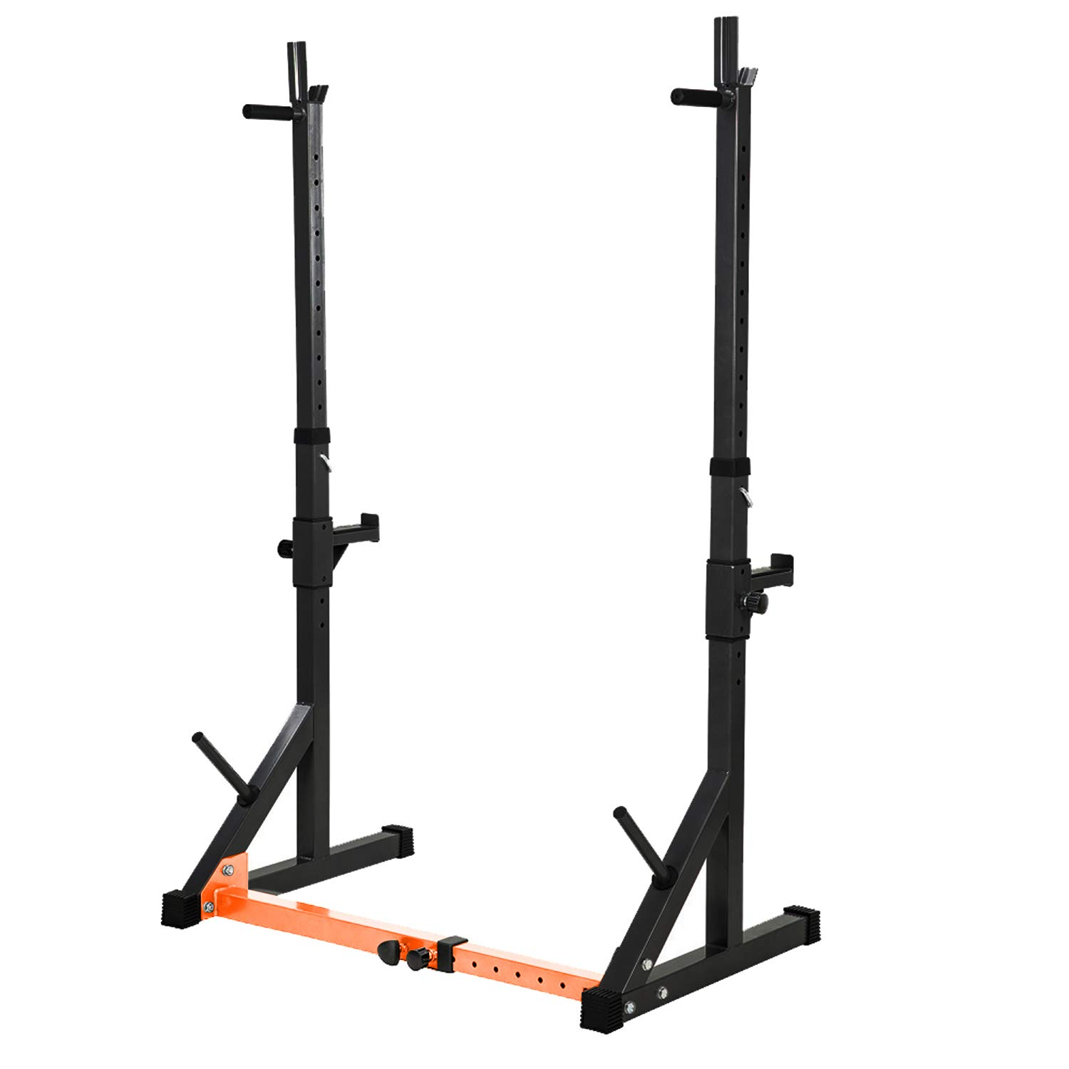 Vanswe Multi-Function Barbell Rack 550LBS Capacity Dip Stand Home Gym Fitness Adjustable Squat Rack Weight Lifting Bench Press Dipping Station (Black/Orange)