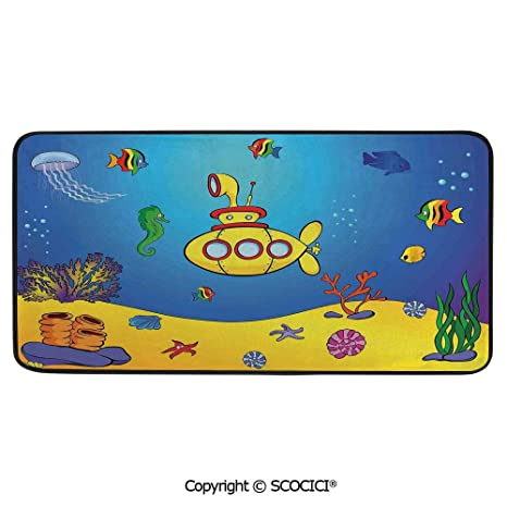 Rectangular Area Rug Super Soft Living Room Bedroom Carpet Rectangle Mat Black Edging Washable Yellow Submarine Kids Colorful Fish Underwater Jellyfish Seahorse 39 X20 Amazon In Garden Outdoors