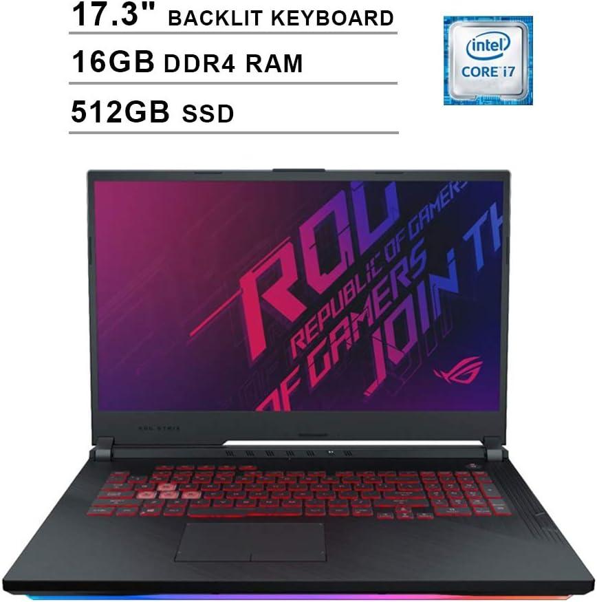 2020 ASUS ROG 17.3 Inch FHD 1080P Gaming Laptop (Intel 6-Core i7-9750H up to 4.5GHz, GTX 1660 Ti 6GB, 16GB DDR4 RAM, 512GB SSD, Backlit KB, WiFi, Bluetooth, HDMI, Windows 10)