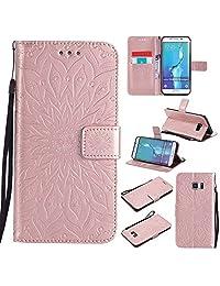 Samsung Galaxy S6/S6Edge/S6Edge Plus caso, dfly-us Premium función de piel sintética cartera Mandala diseño gofrado con función atril suave titular de la tarjeta Ranura Slim Flip Cubierta Protectora, Rose gold