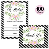 Baby Shower Invites ( 100 ) & Thank You Cards ( 100 ) Matching Set Envelopes Included, Large Party Mom-to-Be Neutral Boy Girl Gender 5 x 7'' Fill-in Invitations & Folded Thank You Notes Best Value Pair