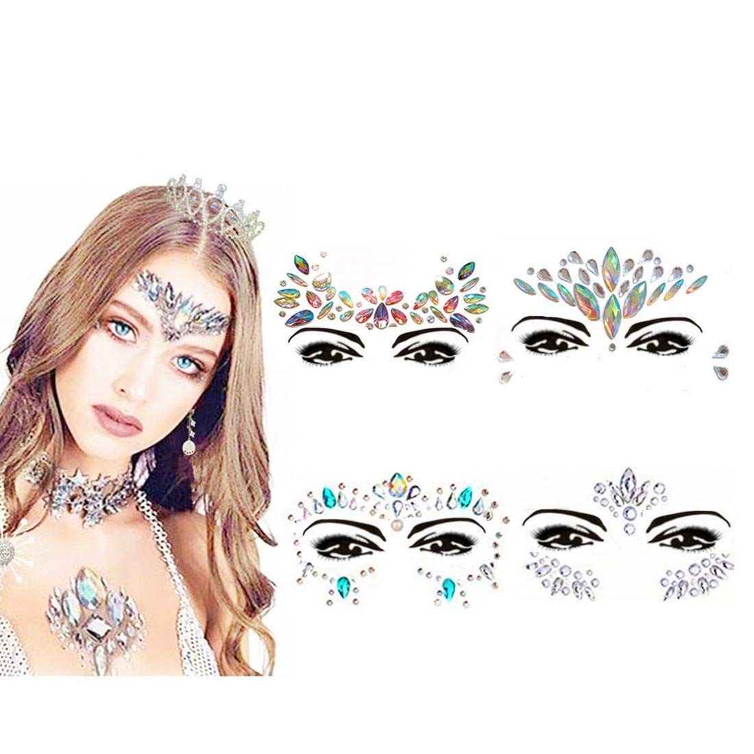 Face Gems, ETRONG 4 Pack Women Mermaid Festival Face Jewels Face Rhinestone Glitter Stickers