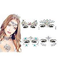 Gesicht Edelsteine, ETRONG 8 Sets Frauen Meerjungfrau Festival Gesicht Juwelen Gesicht Strass Glitter Aufkleber (4 Pack)