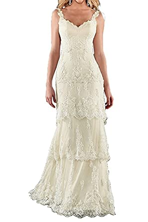 Amazon Com Hatail Bridal Pleated Lace Layered Wedding Dress